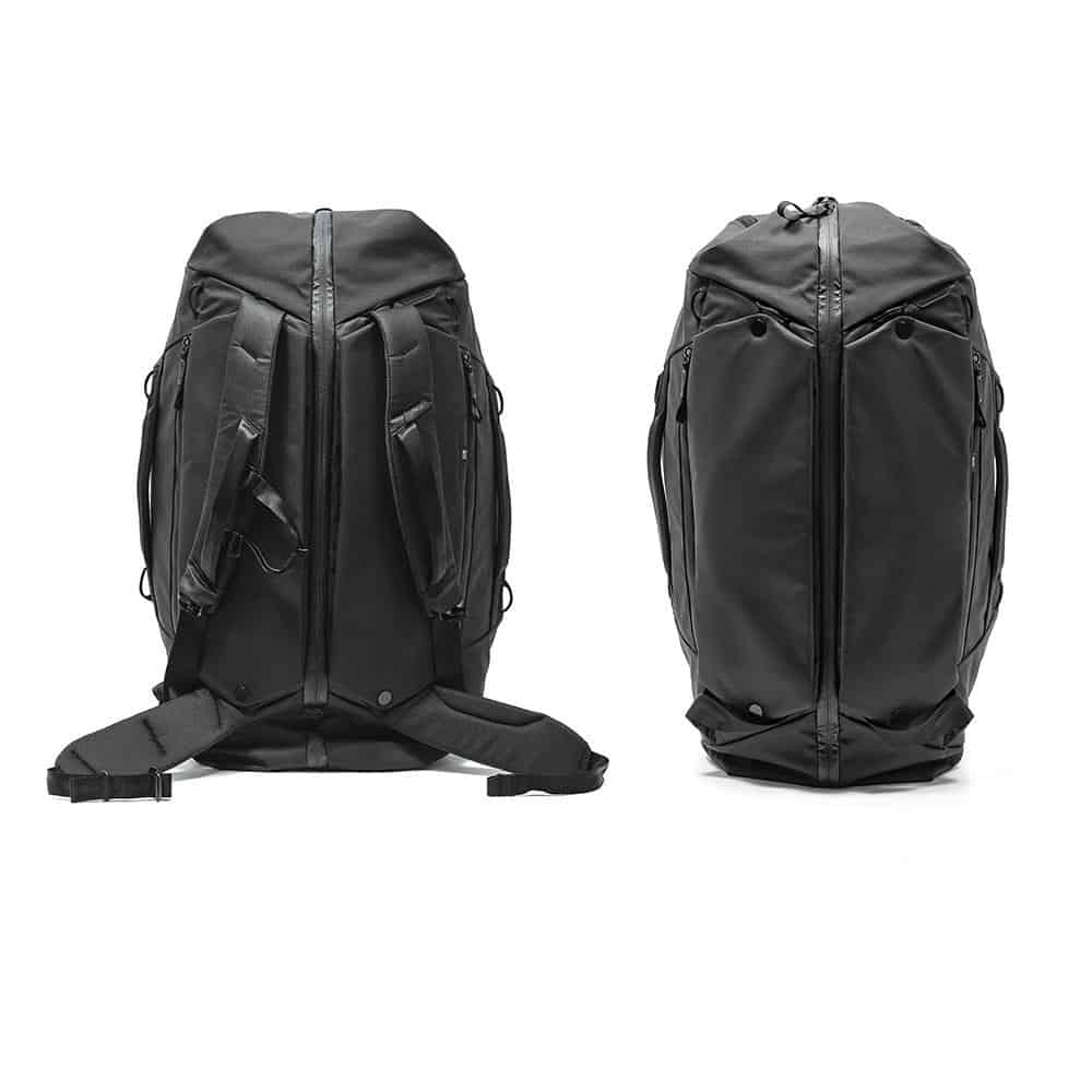 Peak Design Travel Duffelpack (65L) Shoulder and hip straps hide away behind a magnetic panel.