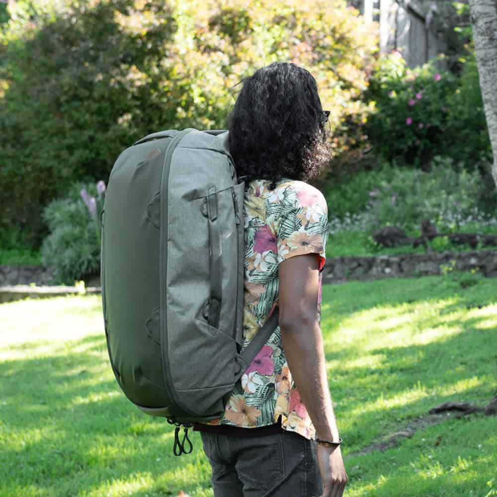 Peak Design Travel Duffelpack (65L) Shoulder and hip straps are solid for hauling the load.