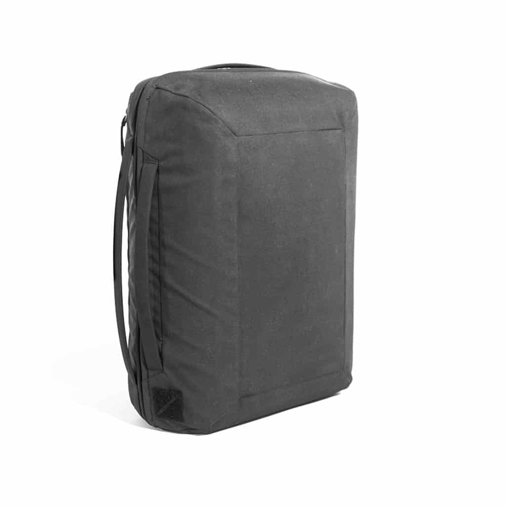 Evergoods Civic Transit Bag 40L Padded well, no travel drag, *very* minimal.