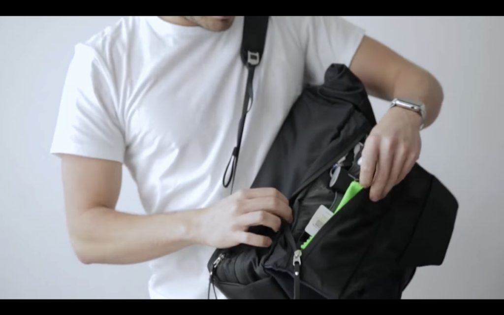 The Frenchie Co. Speed Backpack Left side on-body access: more organization.