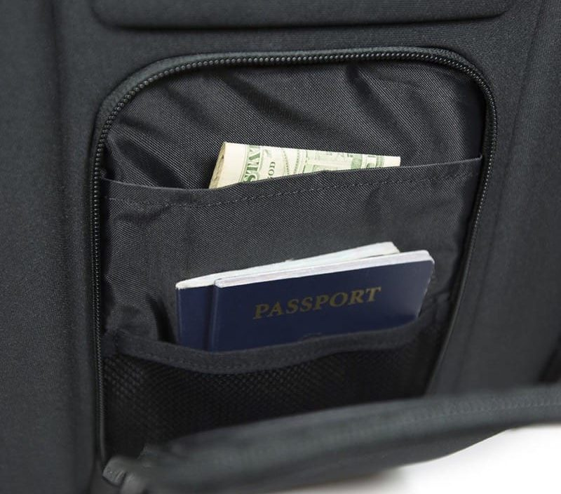 Security pocket hides against your back. Security pocket hides against your back.