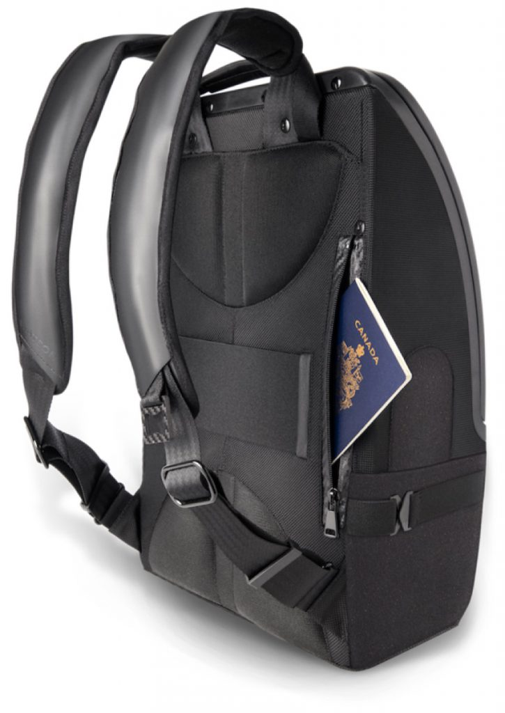 The Watson Backpack Comfy carriage. Back left hidden pocket.