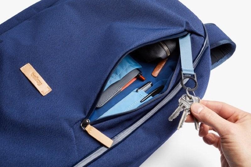 Bellroy Transit Backpack Front vertical pocket.