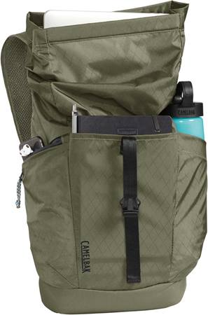 Camelbak Pivot Rolltop Backpack Stash front pocket and side zip pocket.