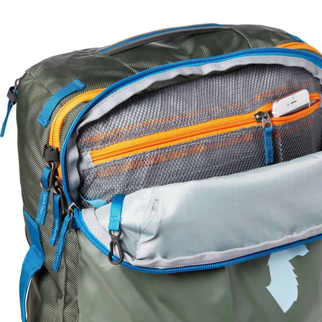 Cotopaxi Allpa 35L Travel Pack One main external access pocket. Medium sized.