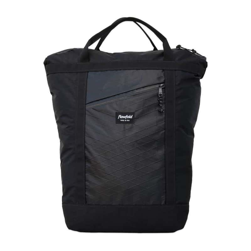 Flowfold Denizen Packable Backpack Front quick access pocket and top handles for carrying as a tote bag.