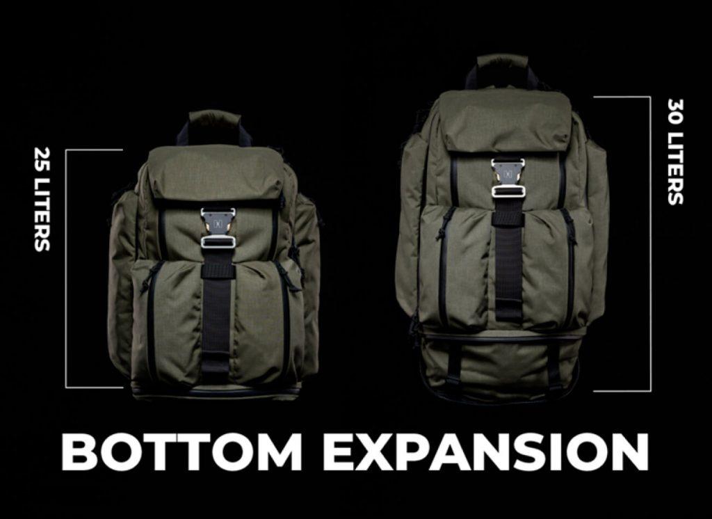 Huru A Model Backpack Bottom zipper expands.