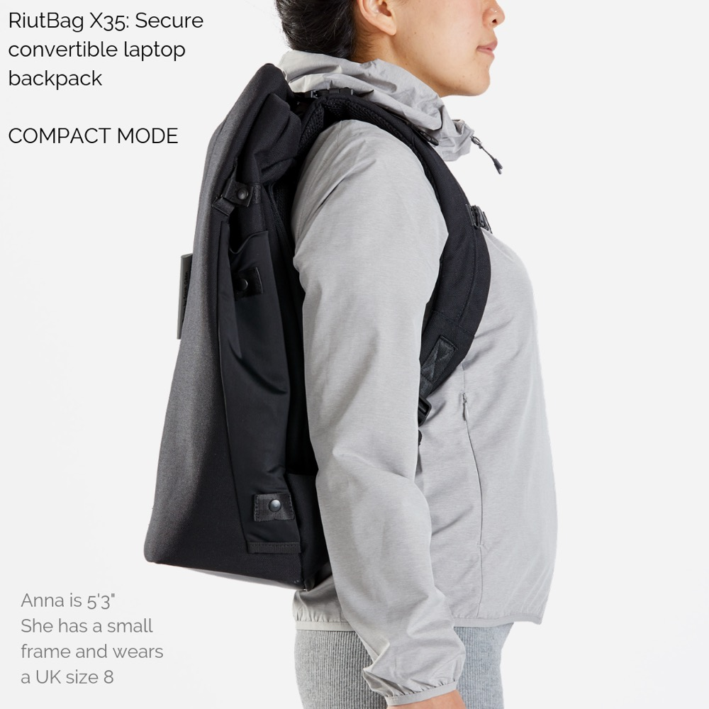 Riutbag X35 Convertible Security Backpack 10L compact daybag mode.