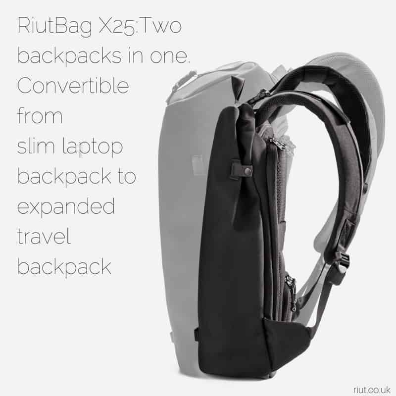 RiutBag X25 Convertible Security Backpack Expands out to a solid minimal travel backpack... shrinks to a great daily carry.