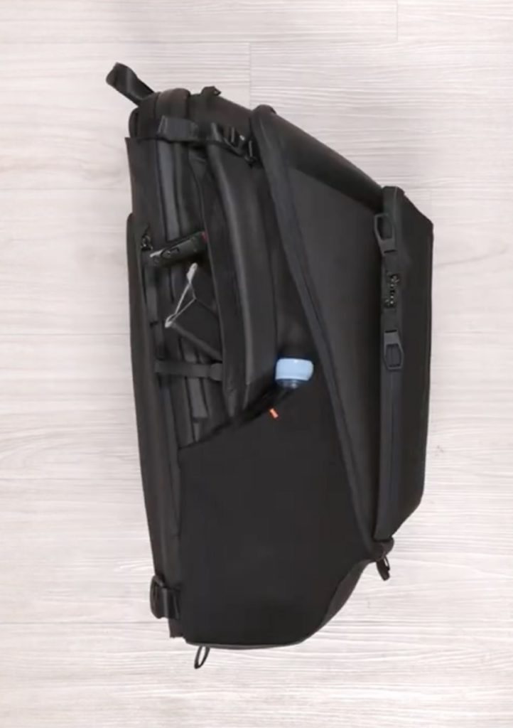 System G Carry+ Backpack Water bottle and small zip pocket on each side.