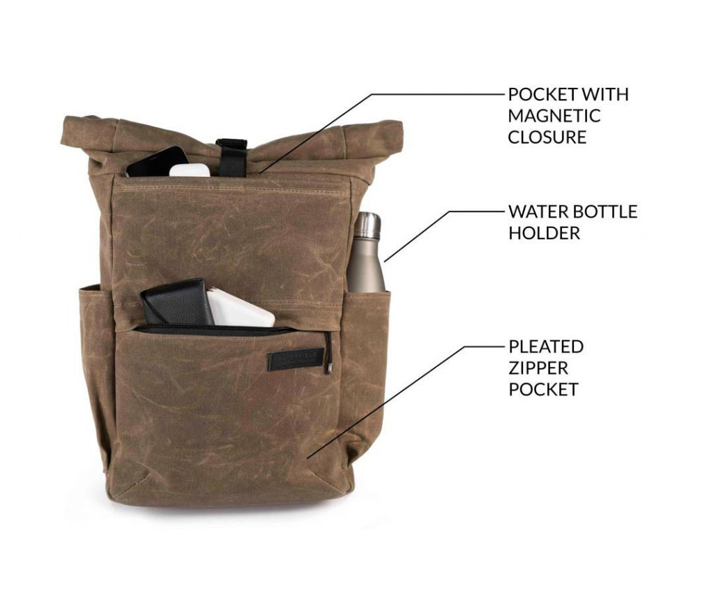 Waterfield Tech Rolltop Backpack A few great external pockets.